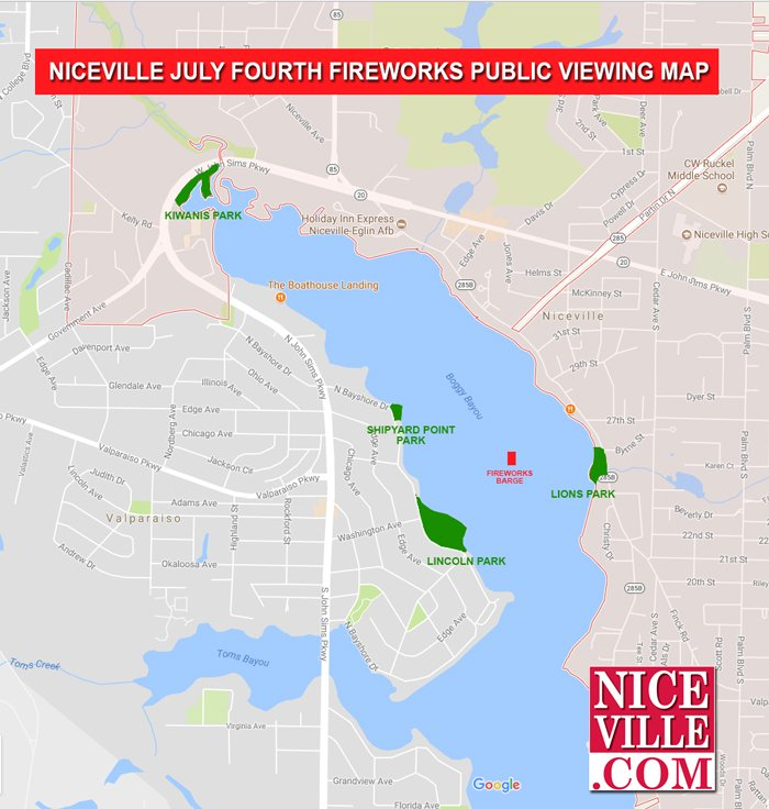 niceville fireworks map