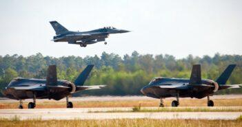 F-16 & F-35s at Eglin Air Force Base Fla