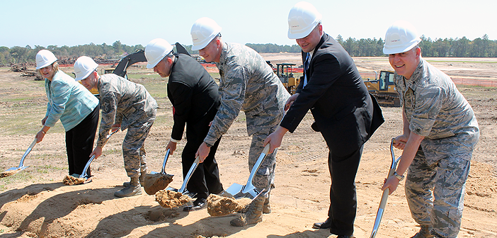 Groundbreaking ceremony for the future Plew Landing neighborhood at Eglin Air Force Base, Fla.