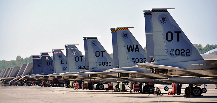 Aircraft from test and evaluation squadrons across the Air Force line up on the Joint Base Elmendorf-Richardson flightline.