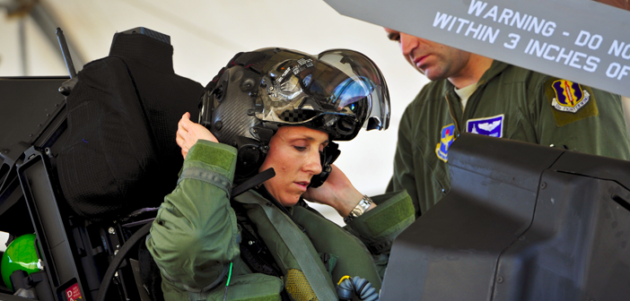 Lt. Col. Christine Mau, 33rd Fighter Wing Operations Group deputy commander, completed her first training flight in the single-seat fifth-generation fighter. Eglin Air Force Base, Fla.