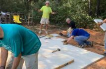 niceville kiwanis club members building patio