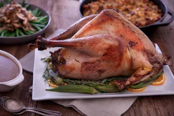 wild turkey cooked on table