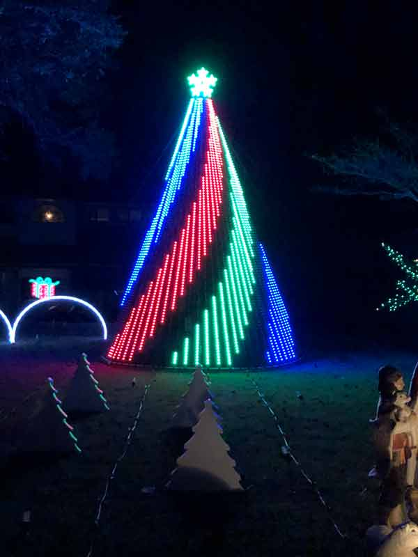 lighted christmas tree on display at geek lights on the corner