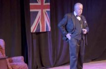 bruce collier on stage as winston churchill