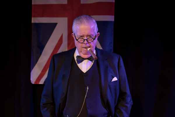 bruce collier performance on stage as Winston Churchill