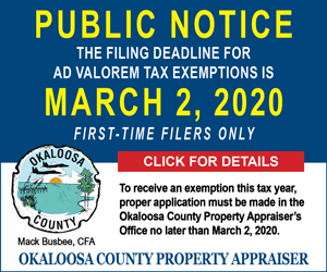 okaloosa property appraiser ad valorem tax exemptions 2020