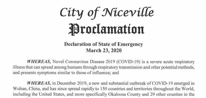 city of niceville declaration of emergency covid-19