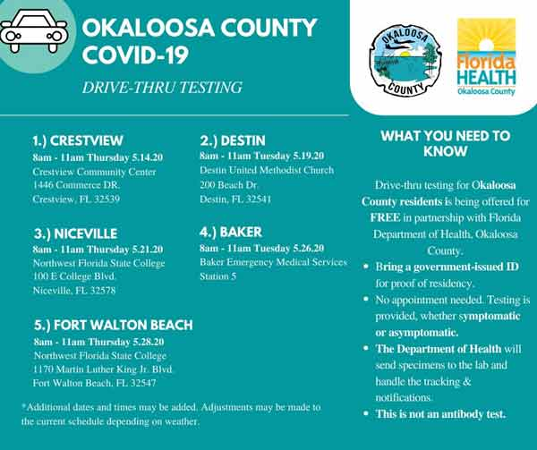 Okaloosa County COVID-19 Drive-Through Testing Sites, Schedule Niceville, destin, Crestview, baker, fort walton beach