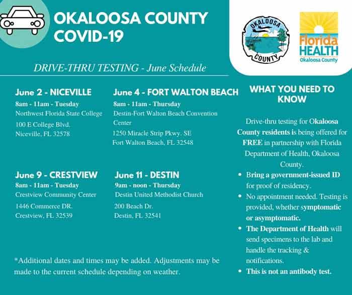 okaloosa county covid-19 testing schedule june 2020 florida