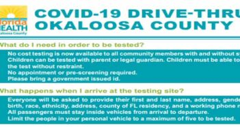 okaloosa county fl covid-19 coronavirus drive-thru testing info information guidelines rules