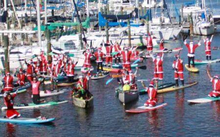 bluewater bay marina santa paddleboard parade