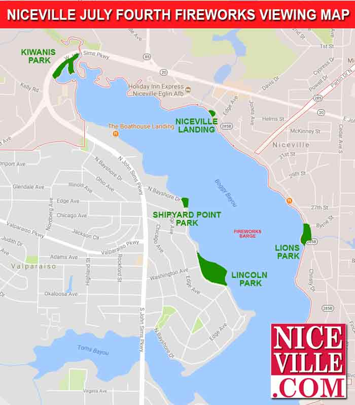 fireworks map niceville viewing fourth of july