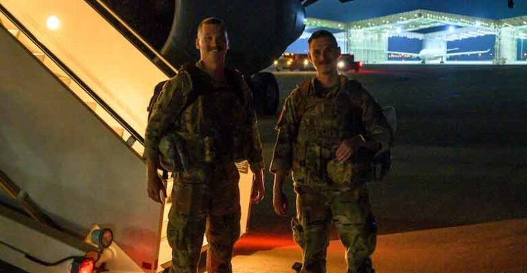 U.S. Air Force Staff Sgt. Harold S. Balcom III and U.S. Staff Sgt. Jacob T. Crabtree, 378th Expeditionary Operations Support Squadron