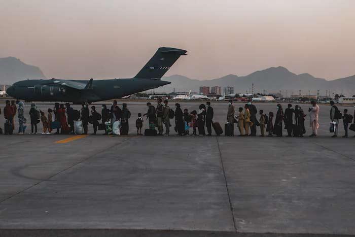 evacuation at Hamid Karzai International Airport, Kabul, Afghanistan
