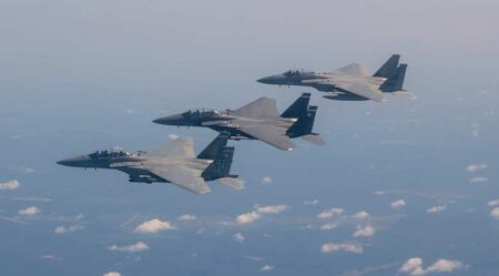 two-ship formation of F-15s Eagles from 53rd Test Wing, eglin air force base