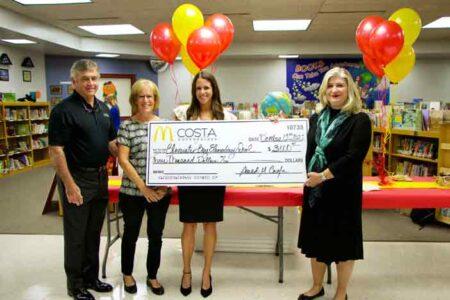Costa Enterprises McDonald's donation to Bluewater Elementary School